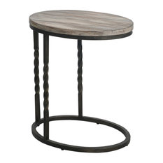 Rustic Farmhouse Wood Iron Cantilever Accent Table   Sofa Twisted Metal Cottage