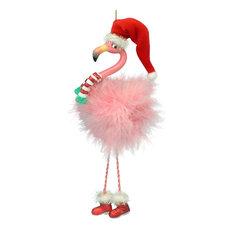 Kurt S. Adler, Inc. - Pink Flamingo in Santa Hat and Pink Boa Feathers Christmas Holiday Ornament - Christmas Ornaments