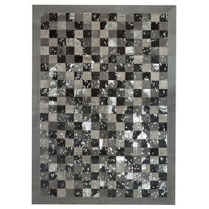Patchwork Cubed Cowhide Rug, Multi Acid Grey and Silver Border, 140x200 cm