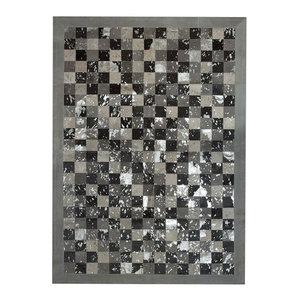 Patchwork Cubed Cowhide Rug, Multi Acid Grey and Silver Border, 200x300 cm