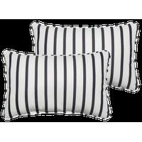 Preston Sunbrella Outdoor Lumbar Pillow, Set of 2, Indigo White, 20x13