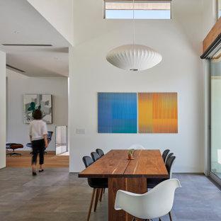 Modern inredning av ett stort kök med matplats, med vita väggar, klinkergolv i porslin och grått golv