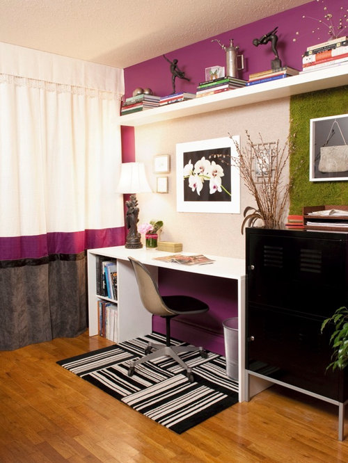 Eclectic Home Office Design Ideas Remodels Photos With Purple Walls