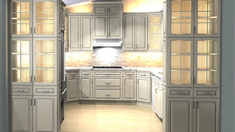 Galley Kitchen With sloped ceiling