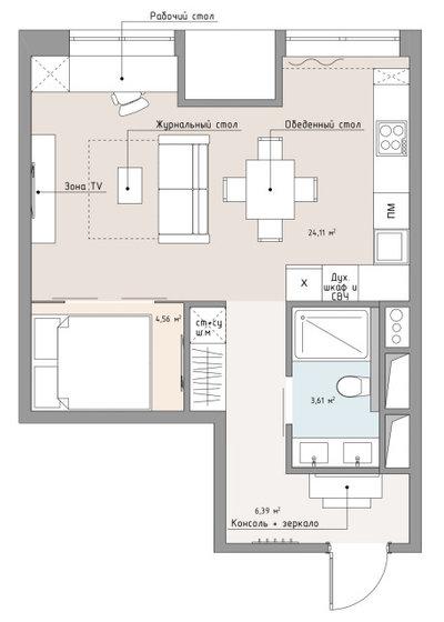 Поиск планировки: Однушка 40 кв.м с зоной homeoffice