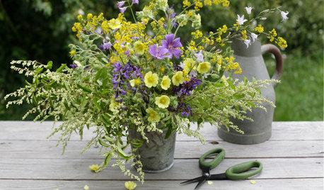 Composizione di Fiori da Tavola: Salvia, Campanula e Fantasia