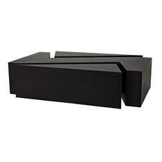 68-inch L Puzzle Coffee Table Smooth Black Metal Modern Contemporary Styling
