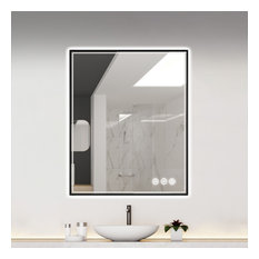 Fogless, Dimmable, Color Temperature Adjustable LED Mirror, Matte Black, 30x36