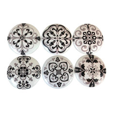 Twisted R Design - 6-Piece Black and Gray Medallion Print Cabinet Knobs Set - Cabinet and Drawer Knobs