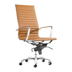 Modern L Ribbed High Back Management Office Chair, Terracotta