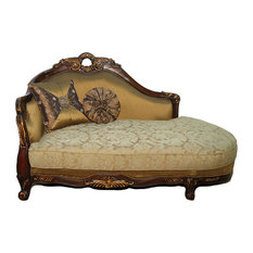 Meridian - Cherry/Gold French Style Provincial Upholstered Chaise Lounge With Pillows - Indoor Chaise  sc 1 st  Houzz : victorian chaise lounge - Sectionals, Sofas & Couches