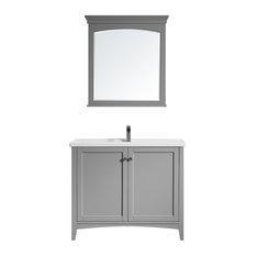 Asti Vanity Grey White Ceramic Top 40-inch Mirror