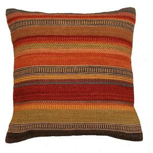 Ooty Stripe Wool Kilim Cushion, Small, Filled