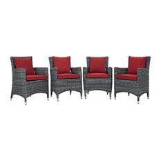 Patio Sunbrella Dining Chair in Red - Set of 4