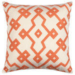 """18"""" x 18"""" Embroidered Cotton Geometric Peach Orange Throw Pillow Cover - - 18"""" square - High quality 100% cotton -Cotton embroidered - The cover has a hidden zipper closure on back - The seams are double stitched for durability - Inside seams are finished to prevent fraying and stress points are reinforced - Insert is not included"""