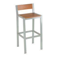 Lola Aluminum Outdoor Barstool, Poly Wood, Silver/Teak