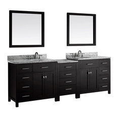 "Caroline Parkway 93"" Double Vanity, White Marble, Without Faucet, Round"