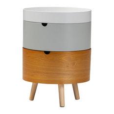 Lauren Mid-Century Modern Multi Color 3-Tier Wood Nightstand