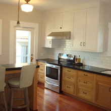 kitchen - white uppers, stained lowers