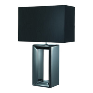 Modern Table Lamp, Black and Black Faux Silk Shade