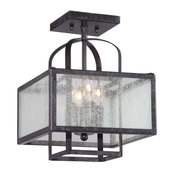Camden Square 4-Light Semi Flush Mount, Aged Charcoal