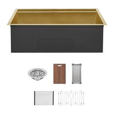 Tourner 32x19 Stainless Steel, Single Basin, Undermount Kitchen Sink, Gold