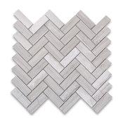 """12""""x12"""" White Wood Grain Marble Herringbone Mosaic Tile Polished"""