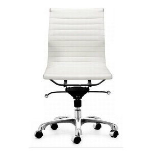 Modern L Ribbed Mid Back Armless Management Office Chair, White