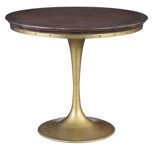 Alfie Pine Table - Rustique Top, Brushed Brass Base