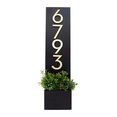 """Standing Tall House Number Plaque, 7""""W x 28""""H, Black, With Numbers"""