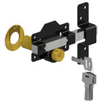 """Gatemate - Double Cylinder Rim Lock, Black/Stainless, 2 3/4"""", Double Cylinder - Comes with rosette and 3 keys. Exclusive Lock for Wood Gates. Features include"""