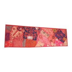 Mogul Interior - Consigned Red Sari Patchwork Sequin Banjara Embroidered Tapestry - Tapestries