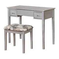 Atlin Designs 2-Piece Bedroom Vanity Set, Silver