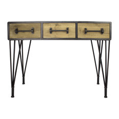 Natural Wood Console Table with 3 Drawers