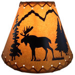 """Reel Lamps - 9"""" Diameter Moose Shade - Faux oil kraft laced lamp shade with lacing top and bottom"""
