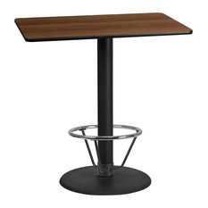 30-inchx45-inch Laminate Table Top With 24-inch Round Bar Ht Table Base And Foot Ring Walnu