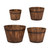 Round Tall Burnt Brown Cedar Barrel, Set of 4