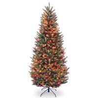 Natural Fraser Slim Fir Tree With Multicolor Lights, 7'