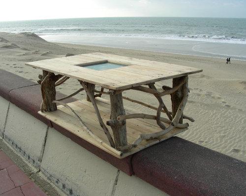 Table basse en bois flott et bois de palette for Table basse bois flotte