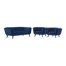 3 Piece Performance Velvet Sofa And Armchair Set Navy