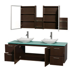 "Amare 72"" Double Vanity, Espresso, Green Glass Top, Arista Carrera Marble Sink"