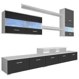 VidaXL Seven Piece TV Unit With LED, 250 cm, High Gloss Black