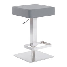 Kaylee Contemporary Swivel Barstool in Brushed Stainless Steel