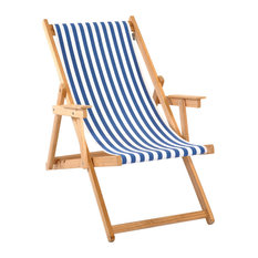 Lined Foldable Deck Chair With Arms, Blue and White