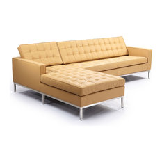 Kardiel   Midcentury Florence Genuine Standard Leather Sectional, Oxford  Fawn, Left   Sectional Sofas Part 77