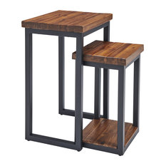 Claremont Rustic Wood Nesting End Tables, Set of 2