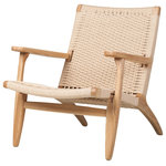 Jovial Elephant - Papercord Easy Chair, Plain Oak - The Papercord Arm Chair is made from solid ash wood with hand made paper cord rattan in natural finish.