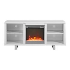 Modern Fireplace TV Stand, White