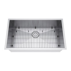 "33""x19"" Single Bowl Undermount Stainless Steel Kitchen Sink, Strainer and Grid"