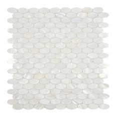 White Oval Pearl Shell Tile, Sample